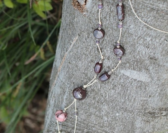 Necklace Pearl White leather, purple ceramic beads, glass beads, metal