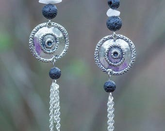 Round ethnic earrings silver, lava beads, chain