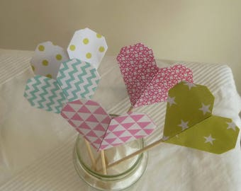 PIC with hearts in origami, home decor, baptism, birthday, baby shower
