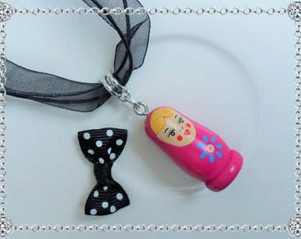 Wood - Russian Matryoshka doll - Fuchsia background - silver plated bail pendant necklace