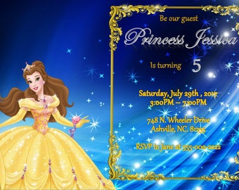Beauty and the Beast Princess Belle Invitation