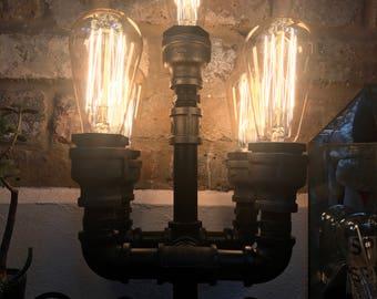 Metal Pipe 5 bulb Quintuple Steampunk desk lamp