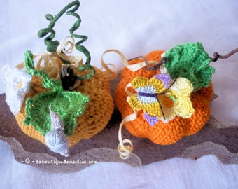 Decoration: 2 small Pumpkins for halloween or any other