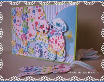 Child card: card birthday with dogs painters