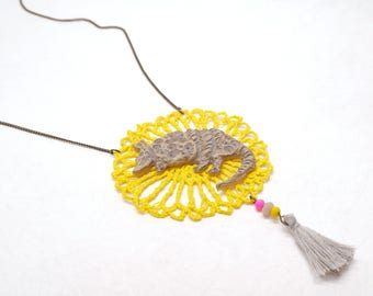 Crochet yellow Armadillo rosette necklace