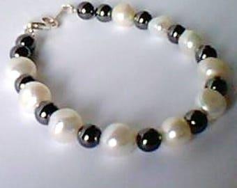 crop - hematite - 925 sterling silver beads bracelet