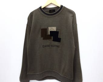 RARE!! Vintage Claudio Valentino Paris CVP Spell Out Embroidery Sweatshirt Jumper Pullover