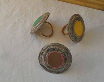 Ring made of recycled paper - yellow