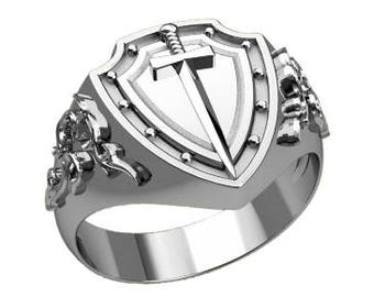 Shield and sword Men's Ring Sterling Silver 925 SKU30313