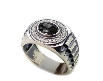 Oval Cut Black Zircon Men's Ring Sterling Silver 925 SKU700460