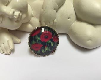 Round poppy ring silver