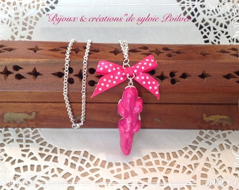Candy pink crocodile Necklace: