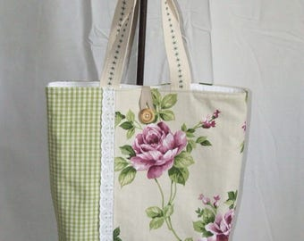 Spring color cotton tote bag fully lined and quilted
