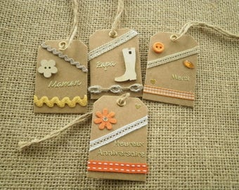 Set of 4 gift tags, handmade, different home decors