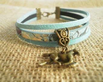 Suede and faux leather, turquoise and bright colors and horse charm bracelet