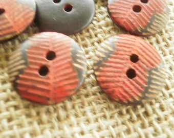 Set of 4 round buttons two holes in wood, red, black and beige, 18 mm diameter