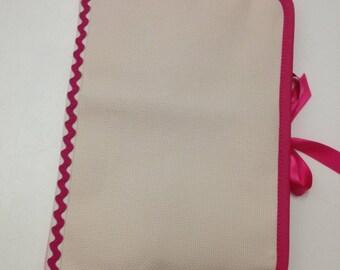 Health book has cross-stitch on 2 sides, fuchsia 100% cotton fabric.