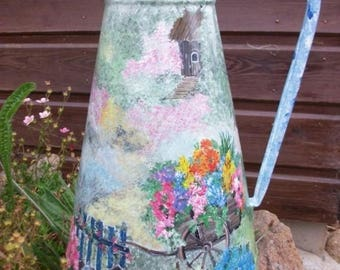 vintage - retro pitcher painted: pretty countryside
