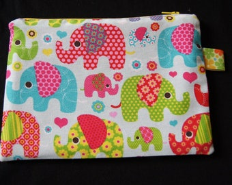 Wallet or pouch multicolored elephants