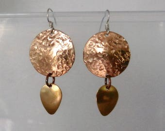 Bronze, copper and brass earrings on Sterling silver ear wires