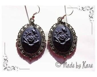 Romantic Vintage glass Cabochon Violet flower cameo earrings