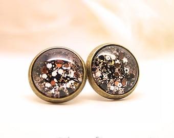 """""""Luxury"""" earring studs copper Glitter black"""