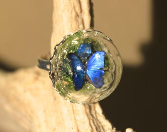 """Ring adjustable globe """"blue butterfly"""" nature, spring, bucolic"""
