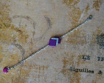 """Bracelet """"Rétro"""" Purple and silver"""