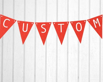 Red & White Custom Personalised Flag Bunting - Birthday Wedding Engagement Baby Shower Baptism Hens Bucks Farewell Party Banner Sign