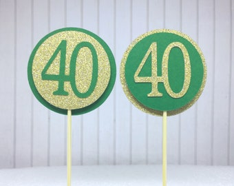 "40th Birthday Cupcake Toppers - Gold Glitter & Emerald Green ""40"" - Set of 12 - Elegant Cake Cupcake Age Topper Picks Party Decorations"