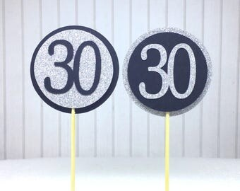 "30th Birthday Cupcake Toppers - Silver Glitter & Black ""30"" - Set of 12 - Elegant Cake Cupcake Age Topper Picks Party Decorations"