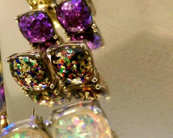 BEAUTIFUL! Sparkly Square Colorful Post Earrings