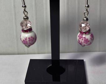 Porcelain and pink Swarovski Crystal Pearl Earrings