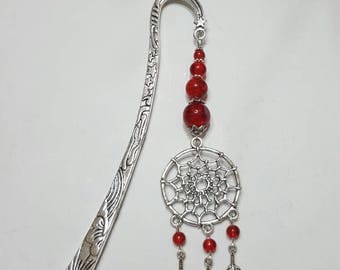 Bookmark feather dream catcher Red