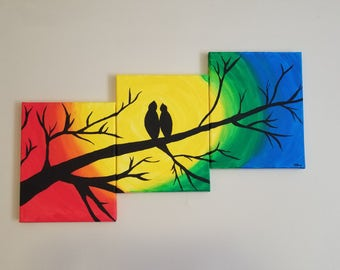 Lovebirds Canvas 3-piece