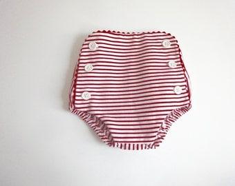 Bloomer/onesie style stripe cotton sailor baby - red/white