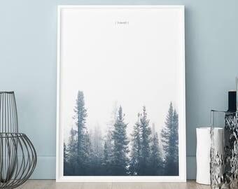 Forest poster, Dark trees print, Wall art, Art Print, Scandinavian print, Scandinavian poster