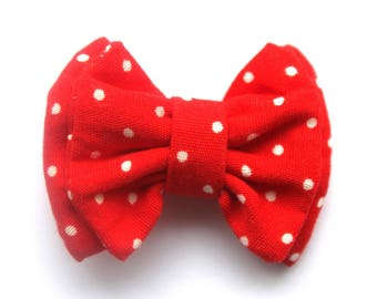 Red polka dot cotton bow clip