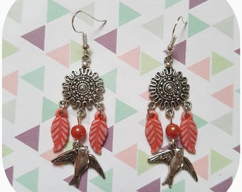 "Earrings ""charm leaf, bird charm"""