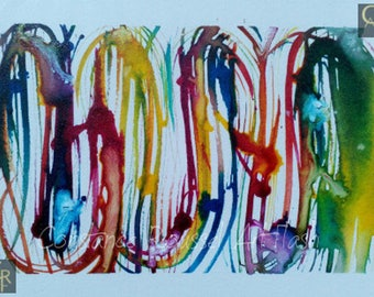 Abstract 1 watercolor multicolor graf