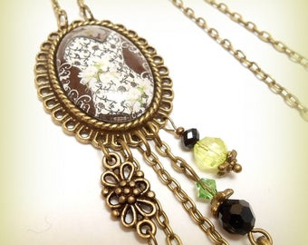 """Retro glass Cabochon necklace """"Corset lace and flowers"""""""