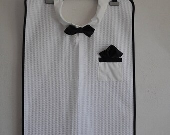 Adult bib with black bow tie for men