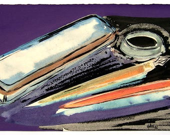 Pencil box. Gouache, watercolor and ink on Arches watercolor paper satin