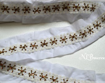 Stripe white 30 mm, embroidered with beads