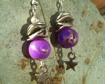 Earrings modern purple bead