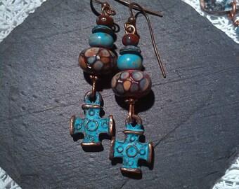 Bohemian earrings, poetic, used, vintage, rustic, Mykonos Cross and beads