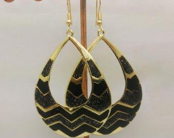 lovely black enamel earrings