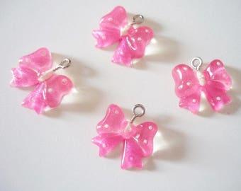 Set of 4 charms bows pink polka dot resin plastic
