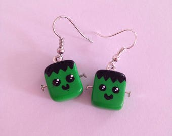 """Polymer clay set necklace + earrings """"collection Halloween Frankenstein"""""""