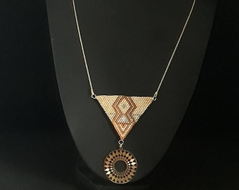 Gold plated 925 sterling silver necklace and miyuki beads, gold round pendant